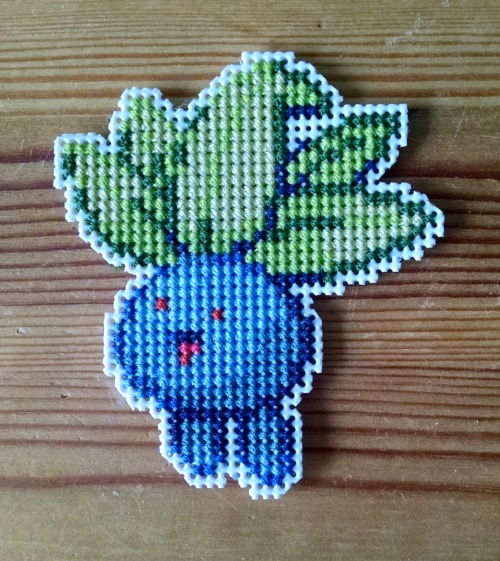picture of Oddish pokemon stitched on plastic canvas