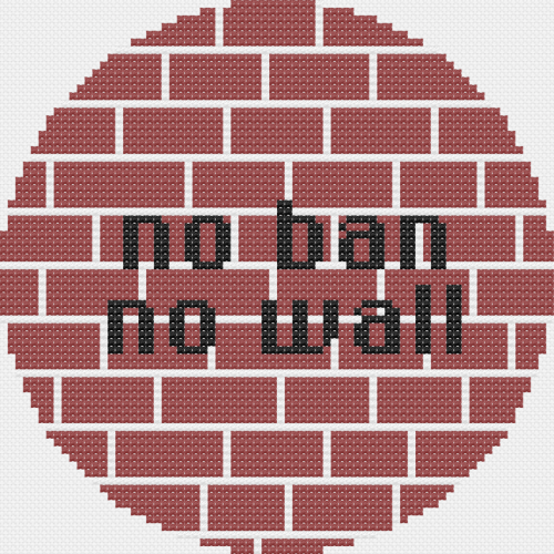 a round cross stitch pattern with red brick-pattern background and black text that reads 'no ban no wall'
