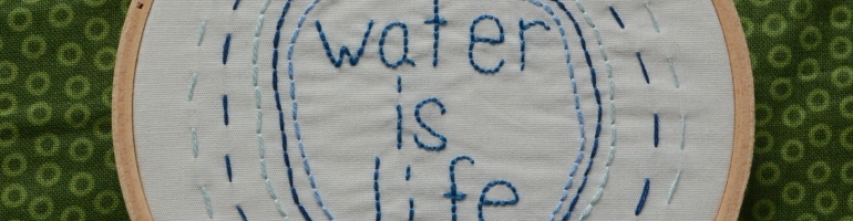 "A photo of an embroidery hoop on a green background. The words ""water is life"" are embroidered in blue and surrounded by concentric circles embroidered in various shades of blue."